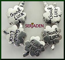 5 Good Luck Four Leaf Clover Charm Spacers fits European Style Jewelry S220