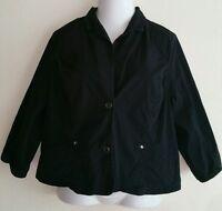 Fashion Bug Womens Black 3/4 Sleeve Button Blazer Jacket Size 16W Career Fashion