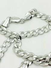 """14k Solid White Gold Cuban Curb Link Necklace Chain 24"""" 5.7mm"""