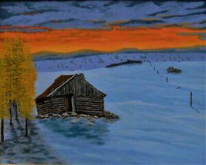 Ron Kucinski The Settler Gave Up Montana Cabin Original Acrylic Painting16x20