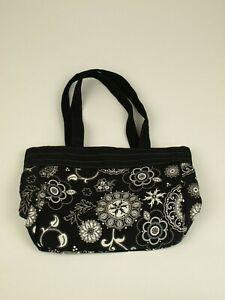 Thirty-one Medium Tote Purse handbag, Black with White Floral print
