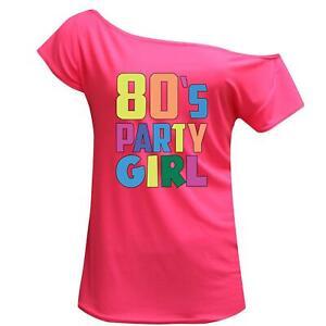 Women 80s Party Girl 1980s Print Off Shoulder Retro Top Hen Night Party Tee 7820