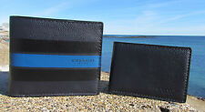 NEW $175 COACH wallet 75399 compact ID varsity leather midnight navy 2 in 1 mens