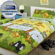 Jungle Animaux Junior Bébé Duvet Couverture Ensemble + Matelas Protecteur