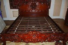 solid walnut wood, hand carved super king size bed - rose wood colour