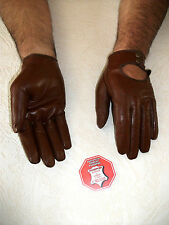 BROWN MEN'S REAL SOFT GOATSKIN LEATHER DRIVING GLOVES 8, 8.5 9 9.5 10