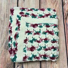 Handmade Crocheted Country Rose & Aran Baby Girl Blanket Afghan
