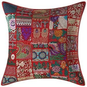 Ethnic Cotton Throw Pillow Cover Red 60cm Patchwork Bohemian Cushion Cover