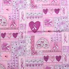 Breast Cancer Awareness Pink Cotton Fabric Timeless Treasures Hearts Hope Love