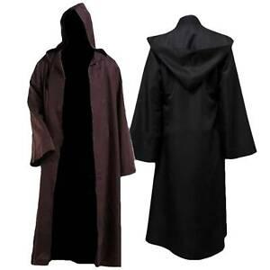 Mens Adult JEDI Star Wars Hooded Cloak Robe Party Cosplay Costume Fancy Dress