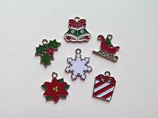 12 CHRISTMAS CHARMS sleigh present snowflake poinsettia bells hollyberry NICE