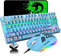 Gaming Keyboard Mouse 87 Keys Rainbow Backlit Mechanical 6400DPI MousePad for PC