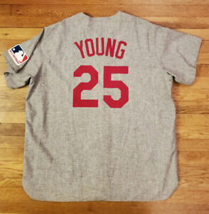 DMITRI YOUNG 2000 Cincinnati Reds Game Used Worn 1969 TBC Road Jersey with LOA