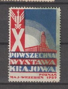 Poland Poster Stamp Reklamemarke Seal Powszechna Wystawa Krajowa Poznan 1929