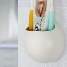 Toothbrush Holder Wall Mount Suction Cup Toothpaste Storage Rack White