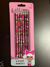 L.O.L. SURPRISE! WOOD PENCILS, SET OF 6 NIP SCHOOL SUPPLIES DRAWING GIRLS FUN!