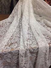 2 m piece of Beautiful Pamela Rose Lace Curtain -Ivory  -260 cm drop Unheaded