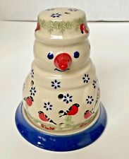 NEW Manufaktura Boleslawiec Polish Pottery Tealight Holder Luminary Snowman Bird