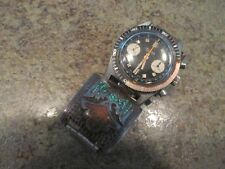 BULOVA 666 FEET DIVER CHRONOGRAPH WATCH MANUAL WIND w Sterling Turquoise AS IS