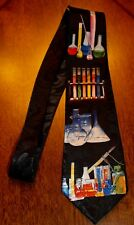 Men's Neck Tie Science Test lab Tubes Beakers Scientist Gift Black New Neck Tie!