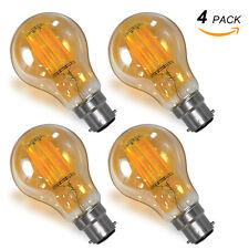 Lampe Ampoule Edison à Filament LED Vintage B22 Baïonnette 8W Blanc Chaud Lot 4