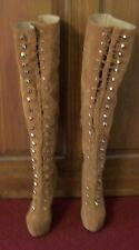 "Ladies Vikky AMI Clubwear Brown Thigh High Platform Boots With 6"" Stiletto Heels"