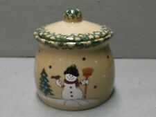 COUNTRY SNOWMAN STONEWARE COVERED CROCK Cookie Jar CHRISTMAS CANISTER