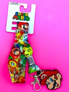 Nintendo Super Mario Lanyard Chain Card Holder Key Ring Necklace Adult Kid Strap
