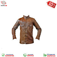 Mens Shirt Jacket Brown Real Soft Genuine Waxed Leather Shirt UNIVERSAL APPAREL