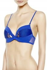 Blue 'Henna' Embroidered Push-Up Bra by La Perla (Italy), 36D, NWT