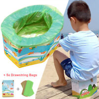 Kids Folding Potty Seat Training Replacement Bags Travel Outdoor Indoor Portable