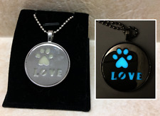 PAW Pet LOVE GLOW in the DARK Charm Pendant Necklace Cat Dog Silver Adopt Round