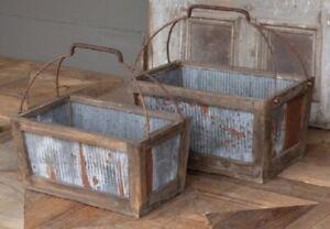 Rustic Farmhouse Tray Storage Tote Tin & Weathered Wood Basket w/Metal Handles
