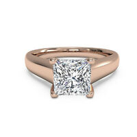 Solitaire Princess 2.12 Ct Diamond Wedding Ring 18K Solid Rose Gold Size M N O