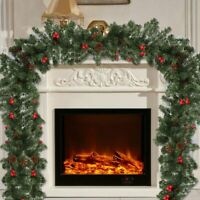 9ft Long Christmas Garland Decorations Xmas Fireplace Pine Ribbon Ornaments US