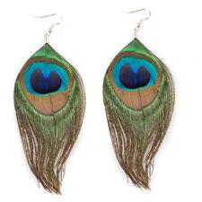 5 paires véritable multicolore plumes de paon des pendentifs boucles d'oreilles bt
