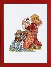 Fille avec chiot Cross Stitch Kit-Eva Rosenstand (14-078)