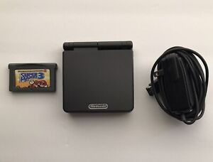 GAMEBOY ADVANCE SP Black AGS-001 Handle Japan System W/ Super Mario 3 Charger.