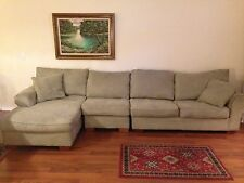 American Signature Light Green MicroFiber 11.5 ft Sectional couch w/ chase