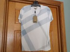 NWT BURBERRY BRIT WHITE & LUPIN BLUE PLAID TOP - SIZE S - $375 NEIMAN MARCUS