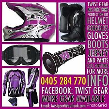 KIDS PEEWEE PURPLE DIRT BIKE SPROCK HELMET GOGGLE GLOVES JERSEY PANTS BOOTS KIT