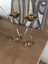 A PAIR OF BOOTS CLEAR WAVY TAPER CANDLE HOLDERS #A