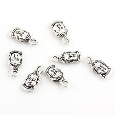 10pcs Buddha Head Beads Tibetan Silver Charms Pendant DIY Bracelet 7*16mm