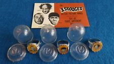 Set Of Three Stooges 1959 Vari Vue Gumball Machine Prize Flicker Premium Rings