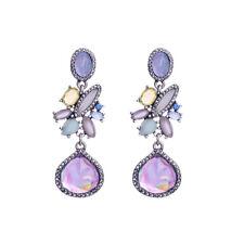 Boucles d'Oreilles CLIP ON Chandelier Art Deco Goutte Violet Mauve Bleu X22
