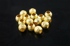 30pcs 8mm Silver/Gold Alloy Frosted Carved Round Big Hole Spacer Loose Beads