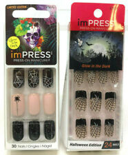 (2) Kiss Impress Press-On Nails Halloween Spider Web Glow In The Dark Full Moon