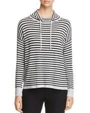 Eileen Fisher striped drawstring funnel neck sweater top XS