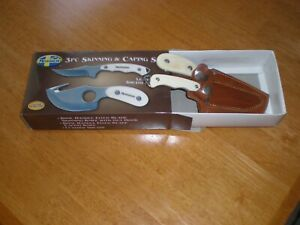 MOSSBERG 3pc Skinning & Caping Knife Set Bone Handle   Gut Hook   LEATHER SHEATH