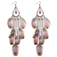 New Vintage Bohemian Boho Brown Feather Chain Long Tassel Women Dangle Earrings